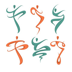 Abstract Dancing People Silhouette for Your Logo