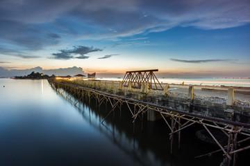 construction bridge over the sea