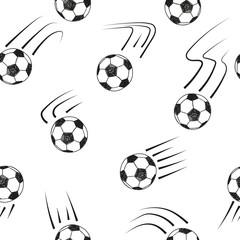 Seamless pattern with doodle soccer balls. Black and white vector football background.