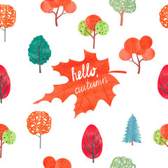 Watercolor autumn background. Colorful watercolor trees. Hello autumn lettering. Vector illustration.