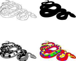 illustration with the image of a snake made contour , silhouette, black and white and color techniques. Vector