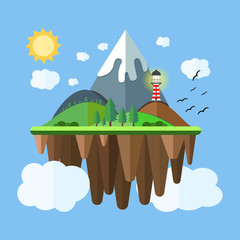Floating island with mountain, hill, tree and birds. Summer time holiday voyage concept. Illustration in flat style. Travel background.