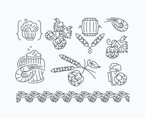 Beer, hop mono line elements for menu, package, design.