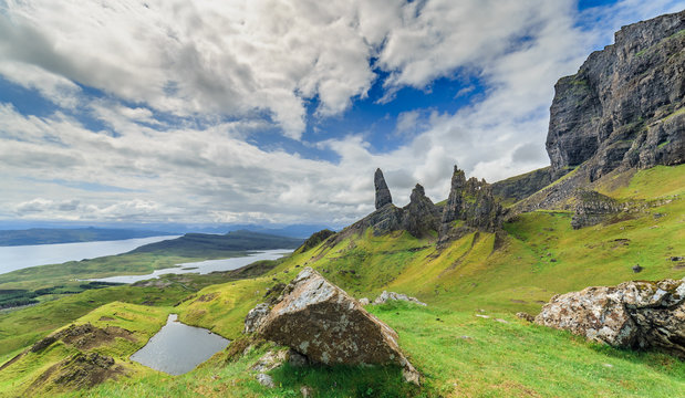 Green Grassy Slopes of Scotish Highlands in the Isle of Skye