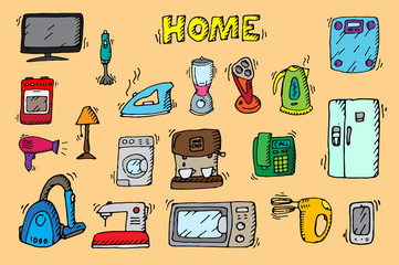 Household appliances and electronic devices icons