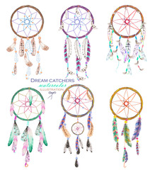 Illustration with dreamcatchers, hand drawn isolated in watercolor on a white background