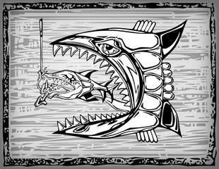 Illustration of two fishes in woodcut style