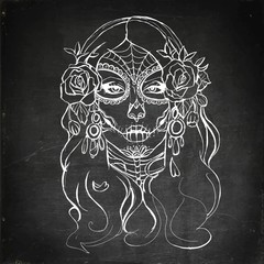 Skull girl illustration