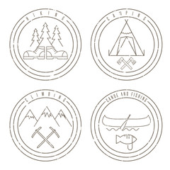 line art grunge labels with canoe,camping,climbing and hiking