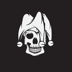 skull in jester cap vector design template