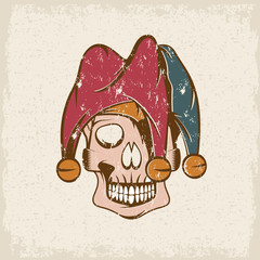 skull in jester cap grunge vector design template