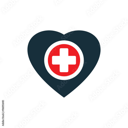 quotmedical plus sign inside heart icon on white background