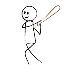 Person mit Baseballschläger