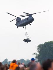 LEEUWARDEN, NETHERLANDS - JUNI 11 2016: Chinook CH-47 military h