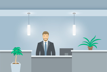 Young man receptionist stands at reception desk. Front view. Vector flat illustration. Office hall interior design with green plants and male administrator. Hotel registration background