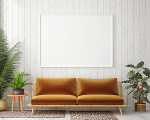 mock up blank poster on the wall of vintage living room, 3D rendering, 3D illustration
