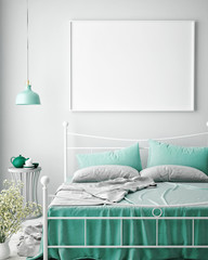 mock up blank poster on the wall of bedroom, 3D rendering, 3D illustration