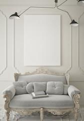 mock up blank poster on the wall of vintage living room, 3D rendering, 3D illustration