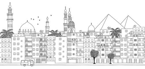Cairo, Egypt - seamless banner of Cairo's skyline, hand drawn black and white illustration