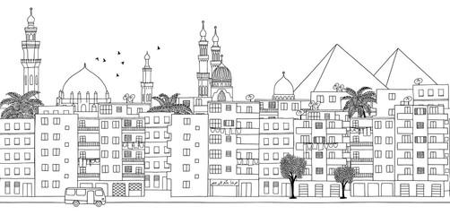 Cairo, Egypt - seamless banner of Cairo's skyline, hand drawn black and white illustration