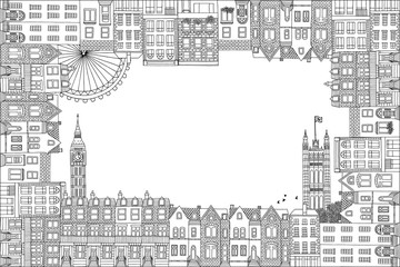Greeting card frame with hand drawn houses of London