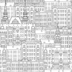 Hand drawn seamless pattern of Russian style houses and church