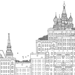 Moscow, Russia - hand drawn black and white illustration with space for text