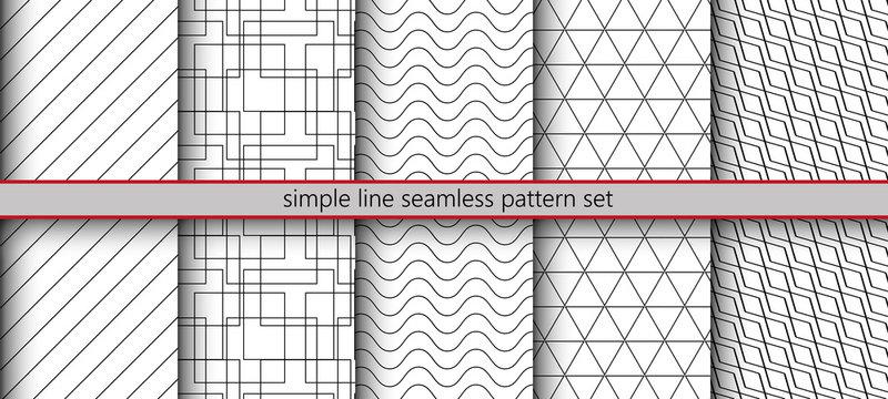 Simple line seamless pattern set