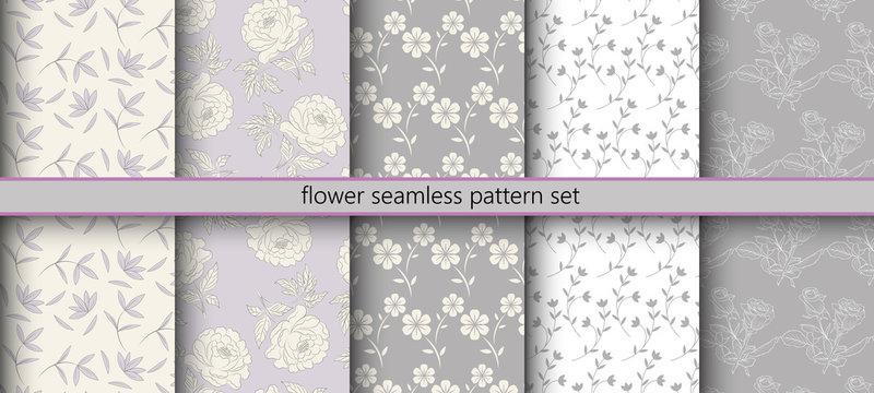 Flower Seamless Pattern Set