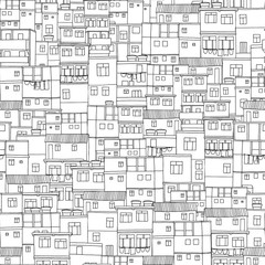 Hand drawn seamless pattern of Brazilian or Caribbean old box style houses