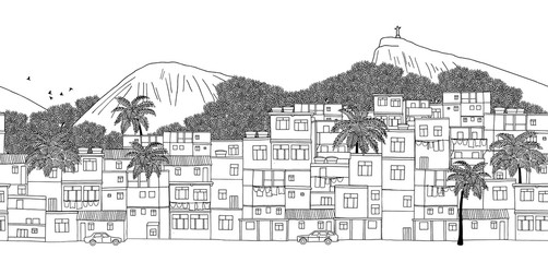 Rio de Janeiro, Brazil - seamless banner of Rio's skyline, hand drawn black and white illustration