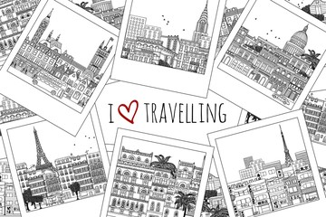"Set of hand drawn travel photographs with text ""I love travelling"""