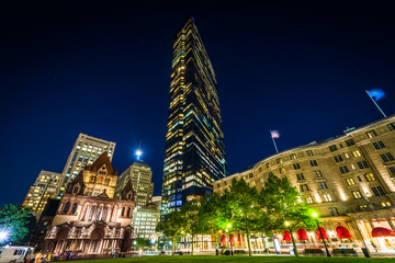 Buildings at Copley Square at night, in Back Bay, Boston, Massac