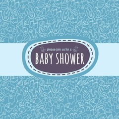 Baby shower card or newborn photo album cover template
