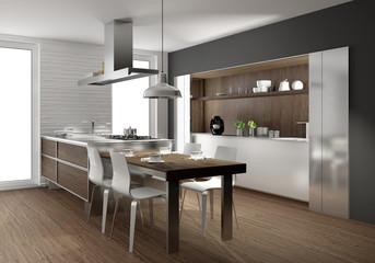 moderne Küche mit Holz, Einbauküche mit Essbereich