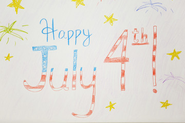 Child's drawing for Independence day on paper