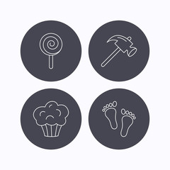 Footprint, lolly pop and muffin icons.