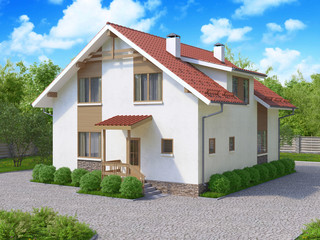 3d rendering of private suburban, two-story house in a modern style