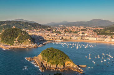 Wall Mural - Panoramic view of San Sebastian in Basque country Spain