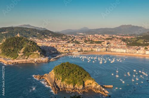 Wall mural Panoramic view of San Sebastian in Basque country Spain