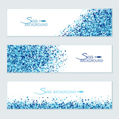 Vector horizontal sea banners set of scatter blue circles for different design.