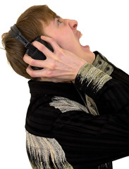 Person in ear-phones shouting