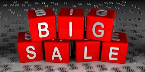 big sale in red cubes