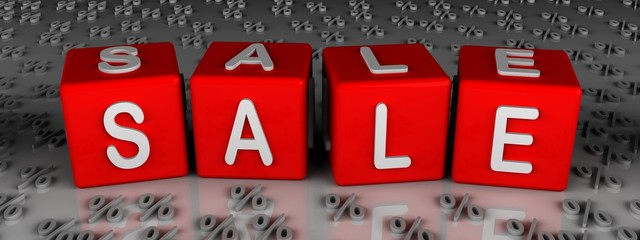 sale in red cubes