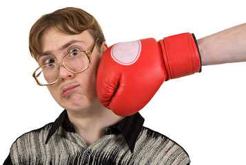 Man of kick on boxer glove