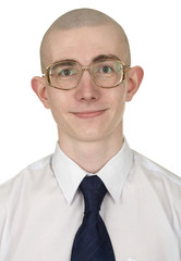 Man with a tie and eyeglasses on a white
