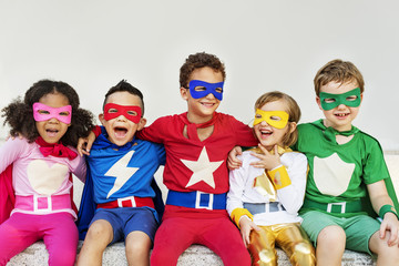 Superheroes Kids Friends Playing Togetherness Fun Concept Fototapete