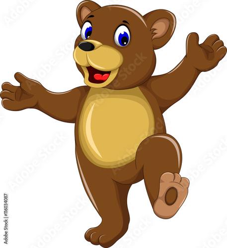 """happy Bear Cartoon Walking"" Stock Image And Royalty-free"