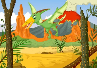 funny pterodactyl cartoon flying with volcano landscape background