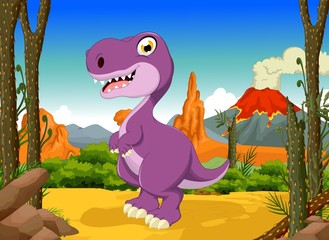 funny tyrannosaurs cartoon with volcano landscape background